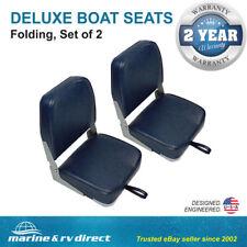 (2) Deluxe Folding Marine Boat Seats-BLUE