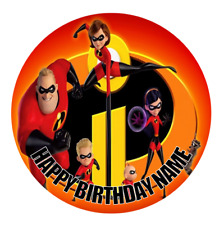 Incredibles 2 Personalised Edible Cake Topper Birthday Party Decoration Image
