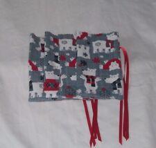 Set of 4 Sm Polar Bear Christmas Design Homemade Fabric Gift Bag