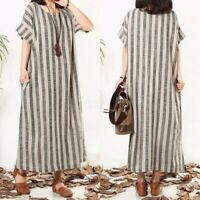 UK Womens Striped Short Sleeve Tunic Casual Summer Long Maxi Shirt Dress Kaftan