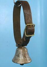 Antique Swiss Bronze Dog Goat Calf Cow BELL Leather Belt Flower Decor Relief