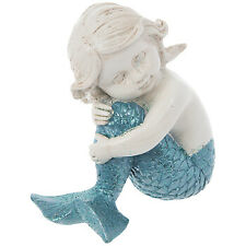 Sitting Child Blue Mermaid Statue Decor