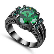 Vintage Round Cut Green Emerald CZ Wedding Ring 18K Black Gold Filled Size 9