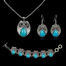 Vintage New Tibetan silver Owl pendant Blue Turquoise earrings necklace bracelet