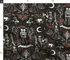 New listing Death Red Gothic Halloween Skeletons Witches Spoonflower Fabric by the Yard