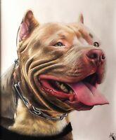 Ritratto portrait di PIT BULL (dog) - Matite colorate cm. 60 x 70