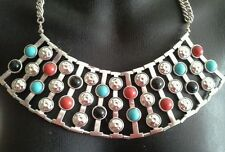 Egyptian Revival Silver Tone Turquoise Coral Colour Costume Necklace Vintage New