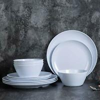 Dishes Dinnerware Set for 4 12pcs Melamine Plates & Bowls Indoor & Outdoor White