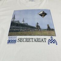 Secretariat 30th Anniversary T Shirt Kentucky Derby Horses Rose White Graphic XL