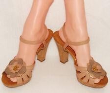 NAYA - WANITA - Camel Brown - LEATHER - Cork HEELS / Sandals sz 7 1/2  *Sexy!