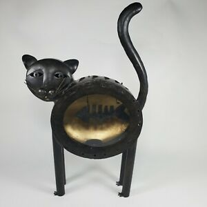 MCM Metal Cat Sculpture Lantern w/ Fish in Glass Stomach/Candle Holder/Halloween