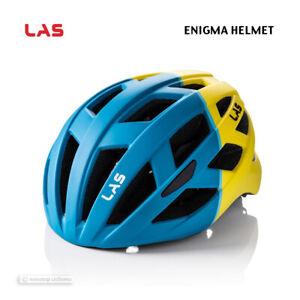 NEW 2021 LAS ENIGMA Road/MTB Cycling Helmet : MATTE PETROL BLUE/YELLOW