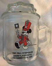 1985 Disneyland Hotel Mickey Mouse Glass Coffee Cup Mug Candy Jar w/ Lid Vintage