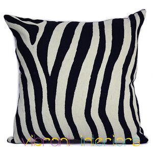 Zebra Animal Contemporary Cushion Black White Decorative Luxe Throw Pillow Cover