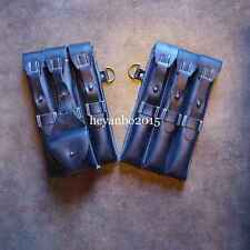 WWII WW2 GERMAN MP40 MP38 LEATHER SOLDIER COMBAT AMMO POUCH BLACK PAIR OF