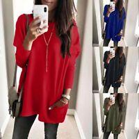 Women Ladies Long Sleeve Sweatshirt Pocket Loose Tops Pullover Shirts Blouse