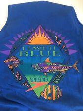 "Surf Tank Top Speedo Blue Tee shirt Single Stitch vintage ""LEAVE IT BLUE"" 91/92'"