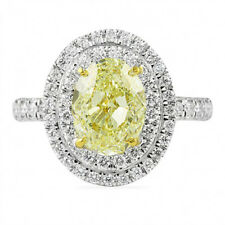 Sterling Silver 14k White Gold Finis 2.27cts Yellow Diamond Halo Engagement Ring