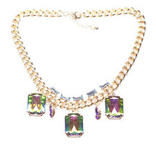 CHIC GOLD TONE NECKLACE SHIMMERING DEEP EMERALD GREEN &PURPLE STONES (ZX57)