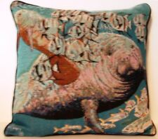 Manatee Swimming With Fish By Guy Harvey Tapestry Pillow New
