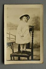 R&L Postcard: Toddler Baby Girl Stood on Barley Twist Antique Chair Portrait