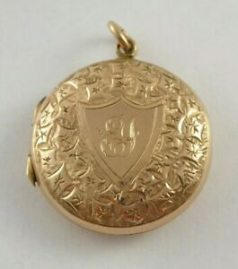 FINE ANTIQUE VICTORIAN 9CT GOLD BACK AND FRONT LOCKET PENDANT