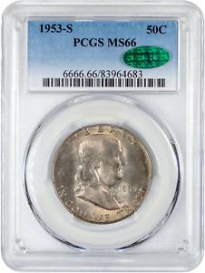 1953 S Franklin Half Dollar 50C - MS-66 PCGS & CAC - 90% Silver