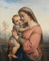Canvas Print Madonna and child Oil Painting Art Giclee Printed on Canvas P418