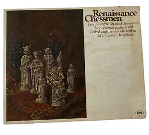 Vintage 1970 Chess Set E.S Lowe Renaissance Chessmen Chess Board Game Complete