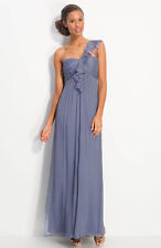 NWOT gray  Amsale Ruffled Chiffon One Shoulder Gown size 10