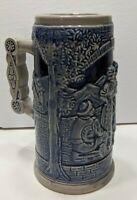 Vintage Cobalt Blue Glazed Ceramic Beer Stein Made In Japan