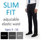 Boys Black Grey Slim Fit Skinny School Trousers Adjustable Waist Age 2-16