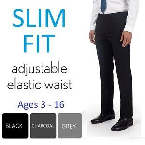 Ex-Store Boys Black Charcoal Slim Fit School Trousers Adjustable Waist Age 3-16