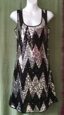 Women's Sequin Dress, L, Vila, Silver, Black, Christmas Party.