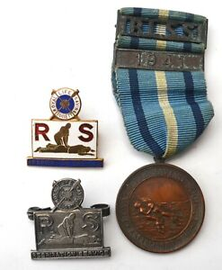 7 items RLSS bronze medal, 2 rare badges, ribbon, bar & brooch, Collectors Guide