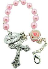 Girls First Communion Pink Faux Pearl and Rose Bead Miraculous Rosary Bracelet