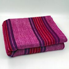 SOFT & WARM PURPLE FUCHSIA STRIPED ALPACA LLAMA WOOL BLANKET PLAID QUEEN