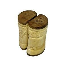 African Cow Bone Teak Wood Salt Pepper Shakers - Hand Carved Rhino Tree Scene