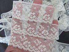 """Antique Valenciennes Lace Scalloped Border Flowers 1"""" X 124"""" Doll Dress Hat Trim"""