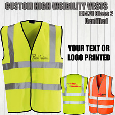 HIGH-VIZ VEST HI VIS HIGH VISIBILITY WAISTCOAT YELLOW ORANGE PERSONALISED LOGO