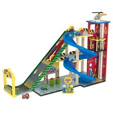 KidKraft Mega Ramp Racing Set Wooden Garage with Cars Lift Helicopter 63267 New