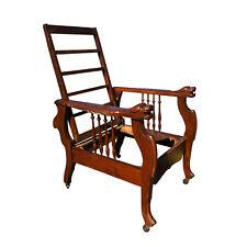 Antique Quartersawn Oak Reclining Morris Chair with Lion Head Motif by S.A Cook