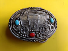 "Covered Wagon Turquoise And Orange Stones Belt Buckle 2 1/2"" x 1 3/4"""