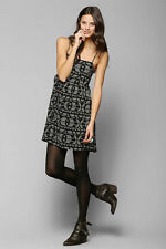 Ecote Urban Outfitters Black White Print Jada Style Lace Up Side Boho Dress M