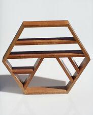 "18.75"" Rustic Mid-Century Modern Handmade Mahogany Hexagon Shadow Box Wall Shelf"
