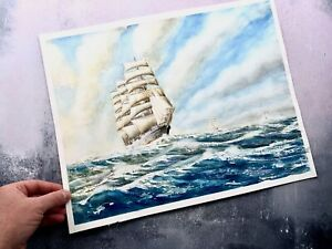 Large Nautical Tallship Watercolour Painting - Signed - George Yeomans