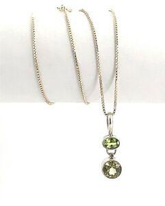"Vintage AGI Sterling Silver & Peridot & Green Citrine Pendant Necklace, 18"""