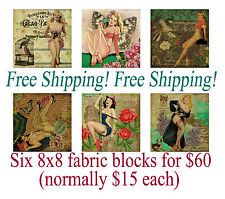 Set of SIX Handmade Pin-Up Collage Fabric Blocks - Perfect 4 Embroidery!