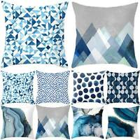 Blue Square Geometric Pillowcase Home Decoration Sofa Waist Throw Cushions Cover
