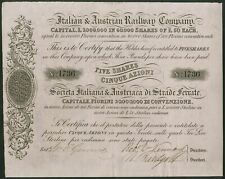 More details for austria/italy: italian & austrian railway company,10 shares of £50 or 500 fl...